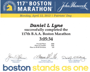2013 Boston Marathon Certificate