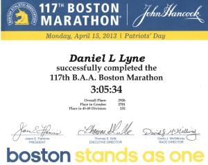 2013 Boston Marathon Certificate