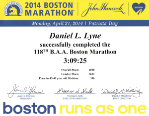 2014 Boston Marathon Certificate