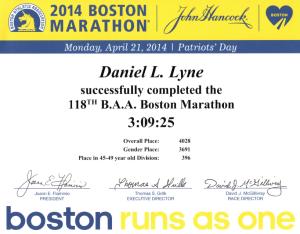 2014 Boston Marathon Certificate